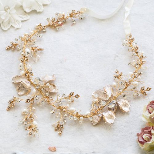 Sula blush pink, crystal and gold hairvine