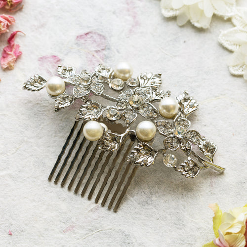 Tamsin pearl and crystal hair comb