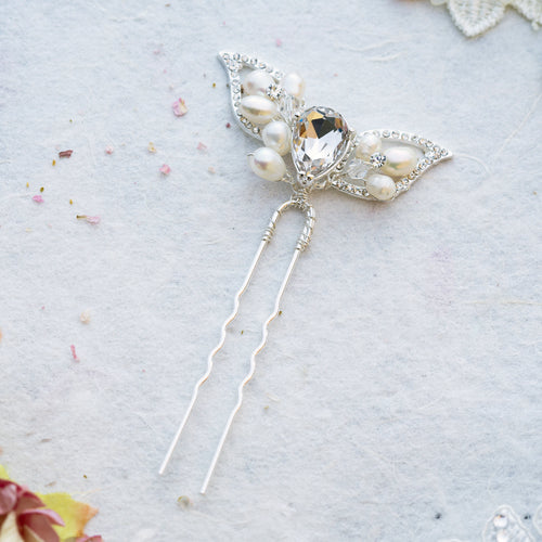 Tillie pearl and crystal hair pin