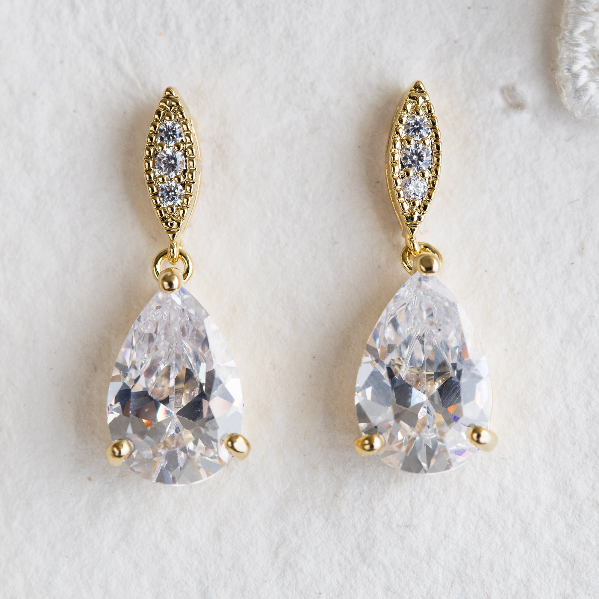 Trixie crystal gold drop earrings