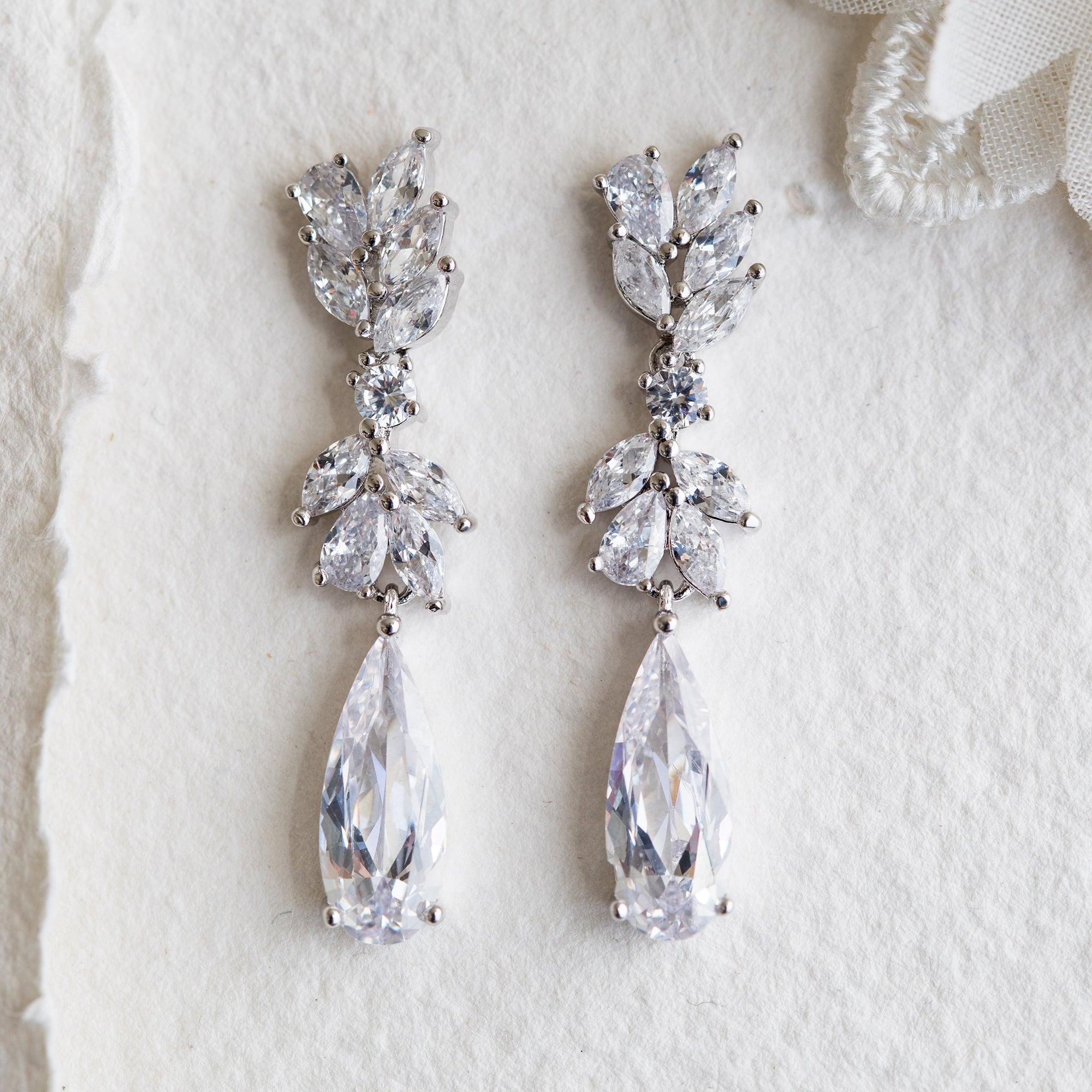 Valencia crystal silver statement earrings