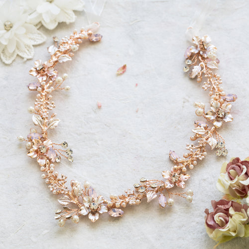 Vanessa blush pink crystal and rose gold hairvine