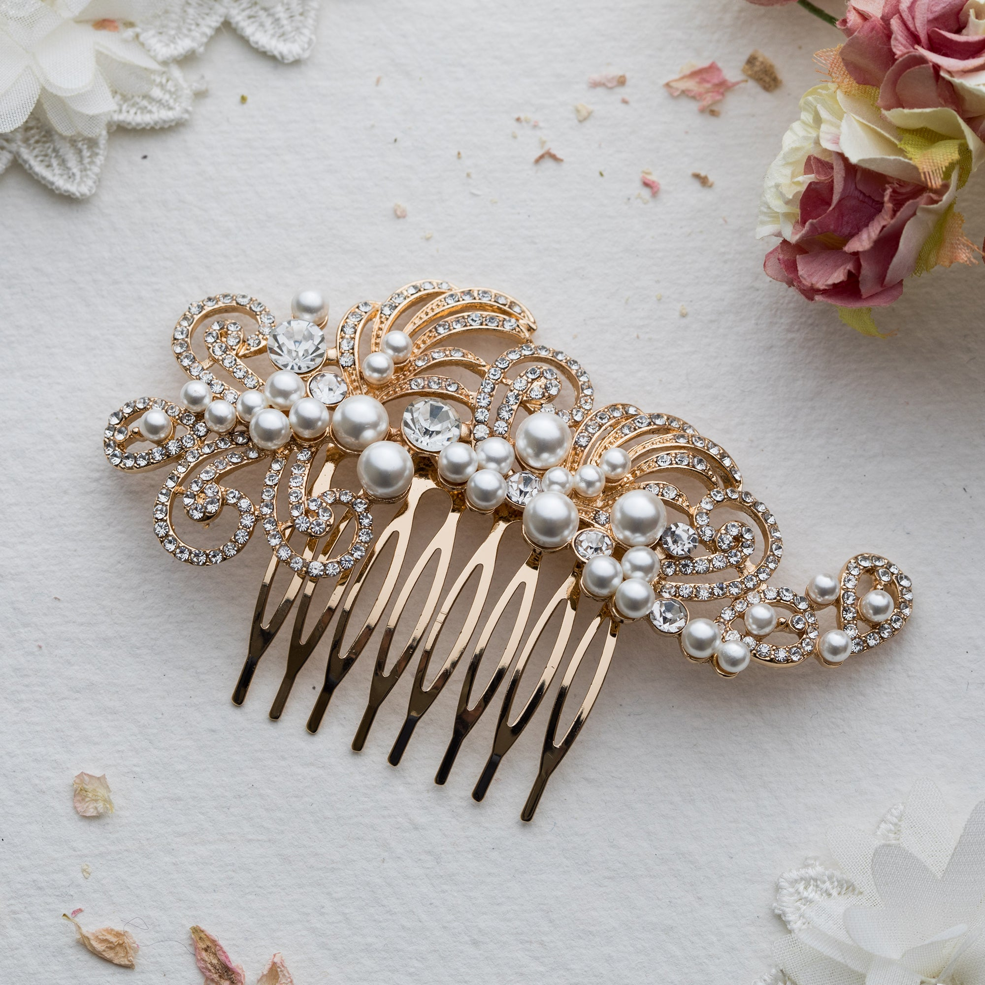 Violeta crystal and pearl gold hair comb