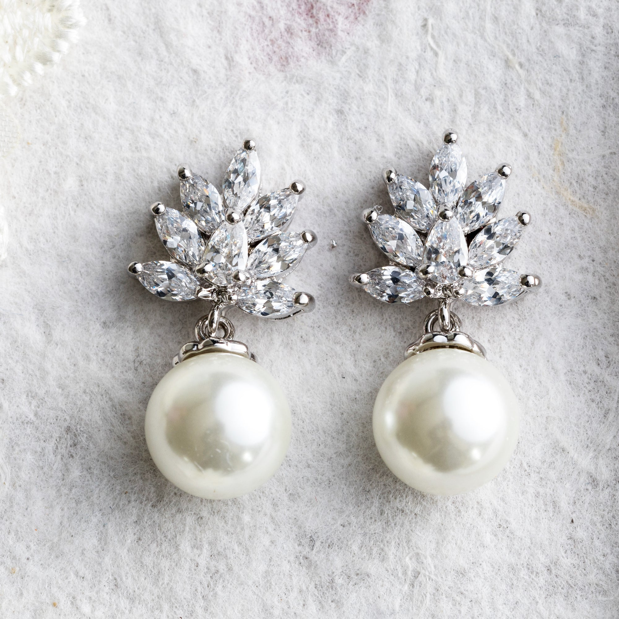 Zara crystal and pearl silver earrings