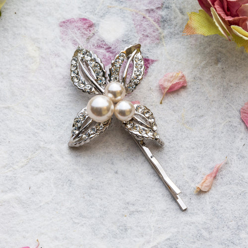 Zoe crystal silver hair slide