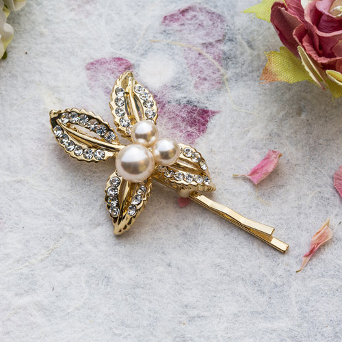 Zoe crystal gold hair slide