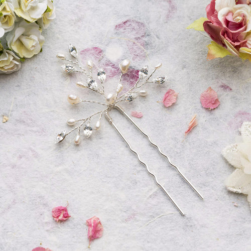 Elodie pearl and crystal silver hair pin