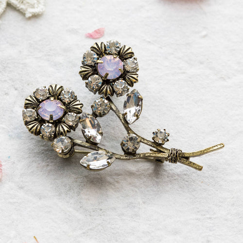 Elsie pink double flower brooch
