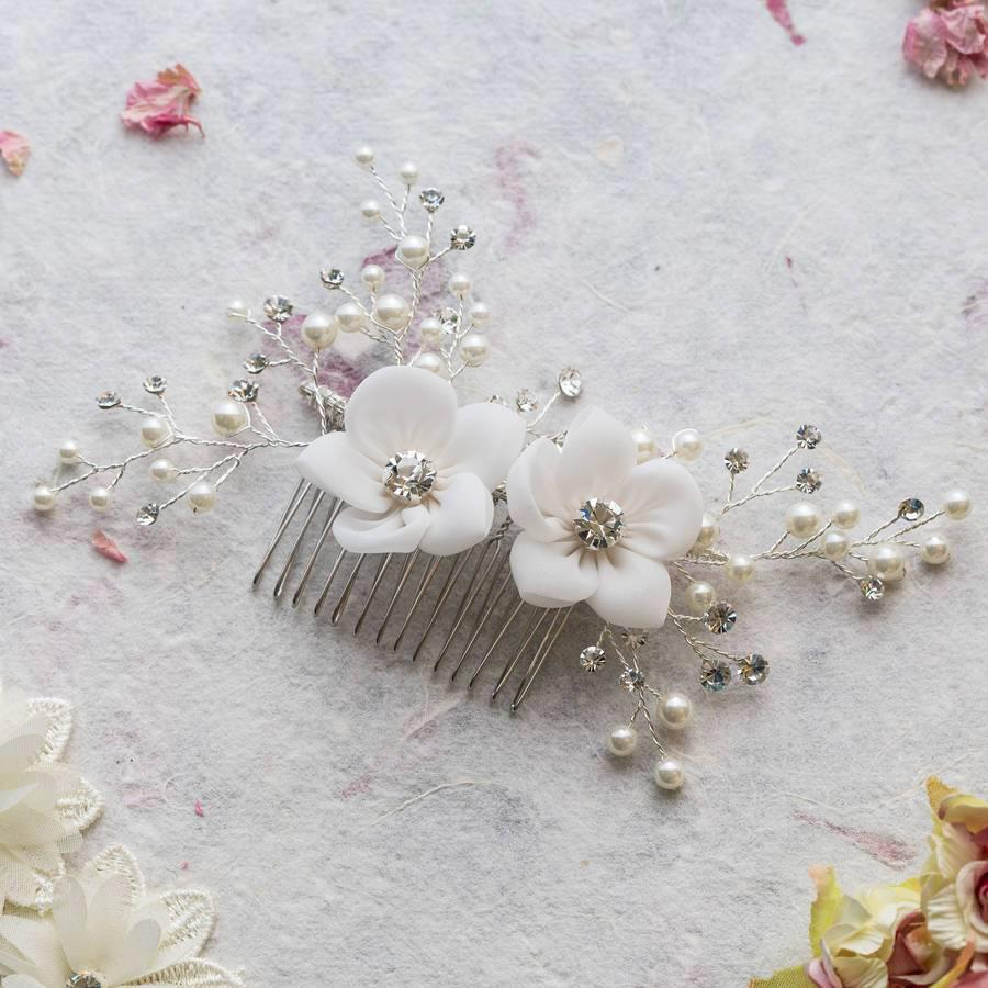 Vivian flower and crystal hair comb