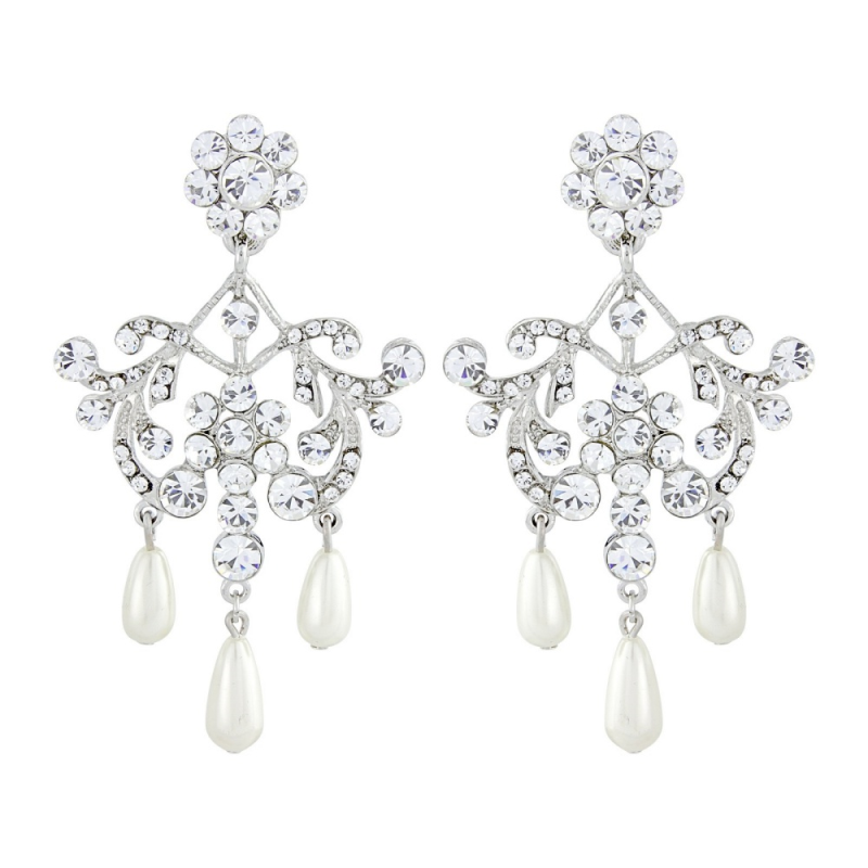 Andrea crystal and pearl earrings