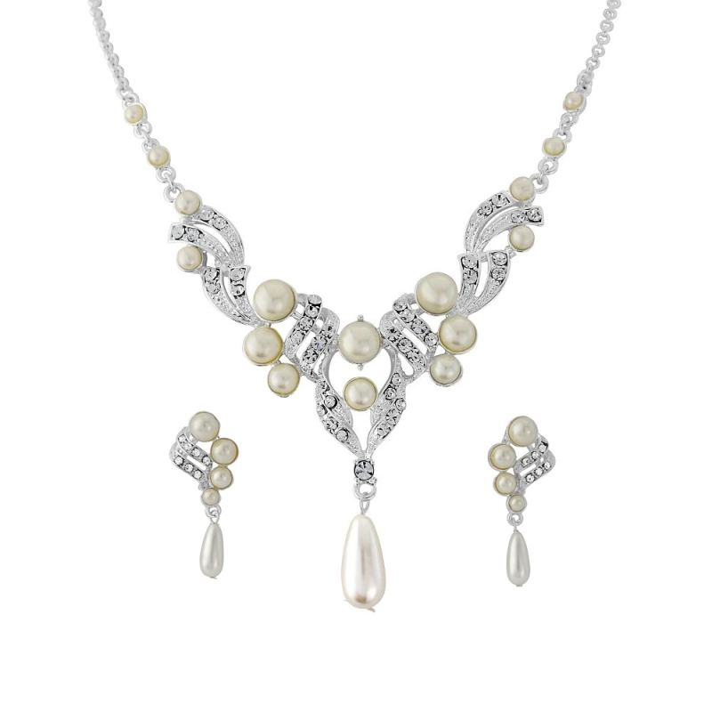Indira faux pearl and crystal necklace
