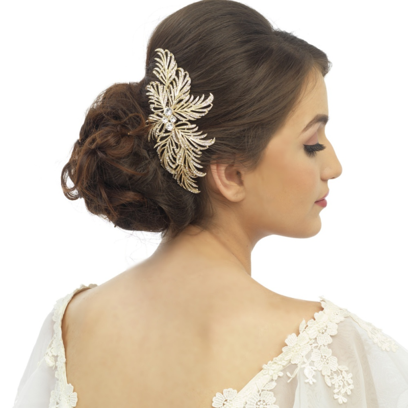 Nerida crystal and gold hair comb