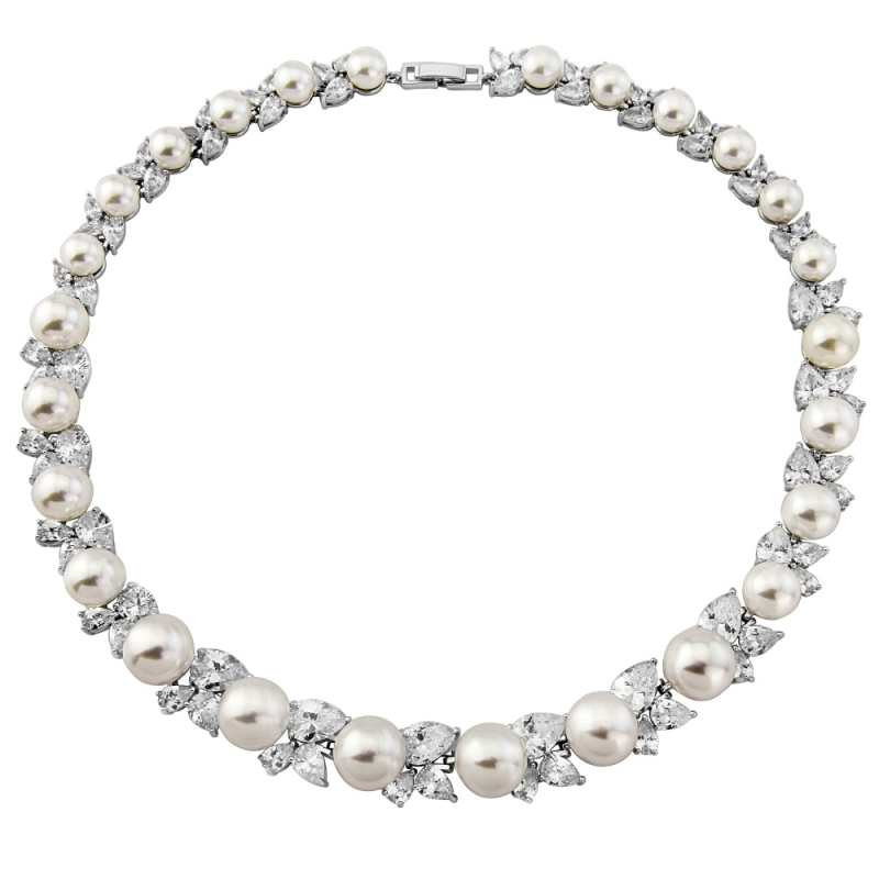 Paulina pearl and crystal necklace
