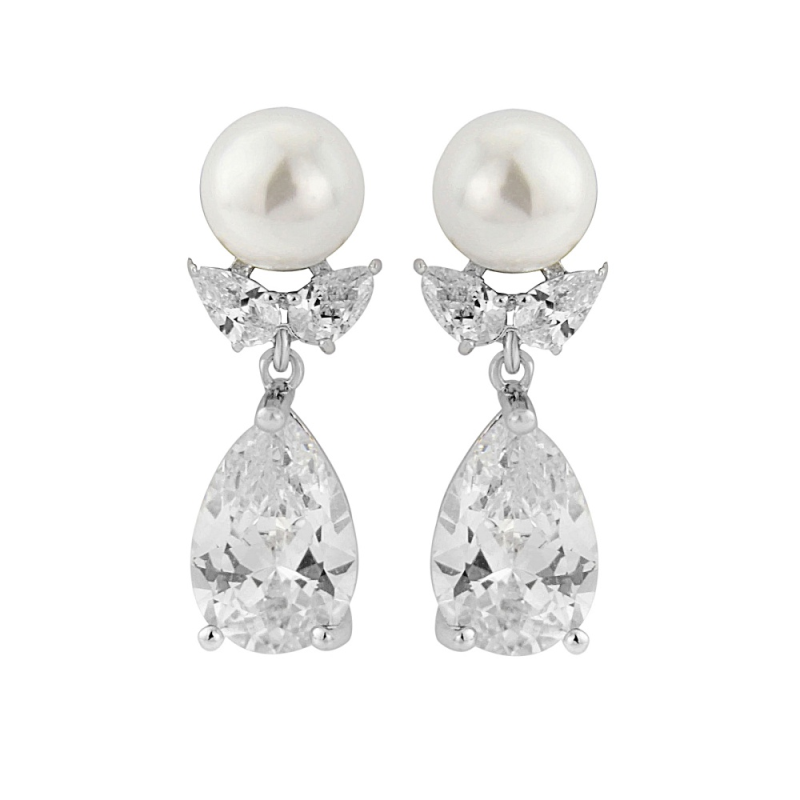 Paulina pearl and crystal earrings