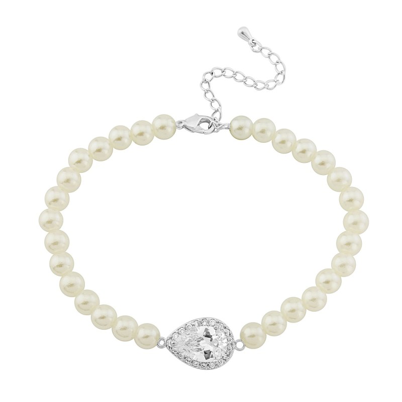 Hettie pearl and crystal silver bracelet