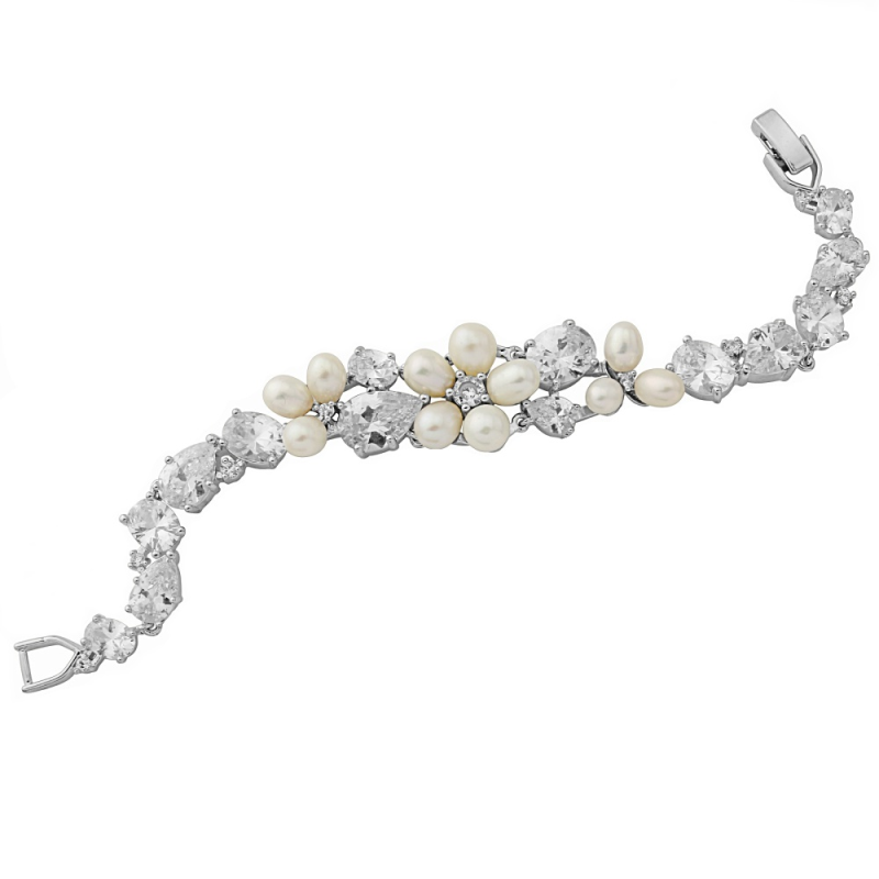 Cosima pearl and crystal bracelet
