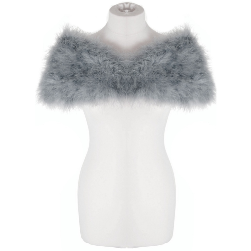 Grey marabou feather stole