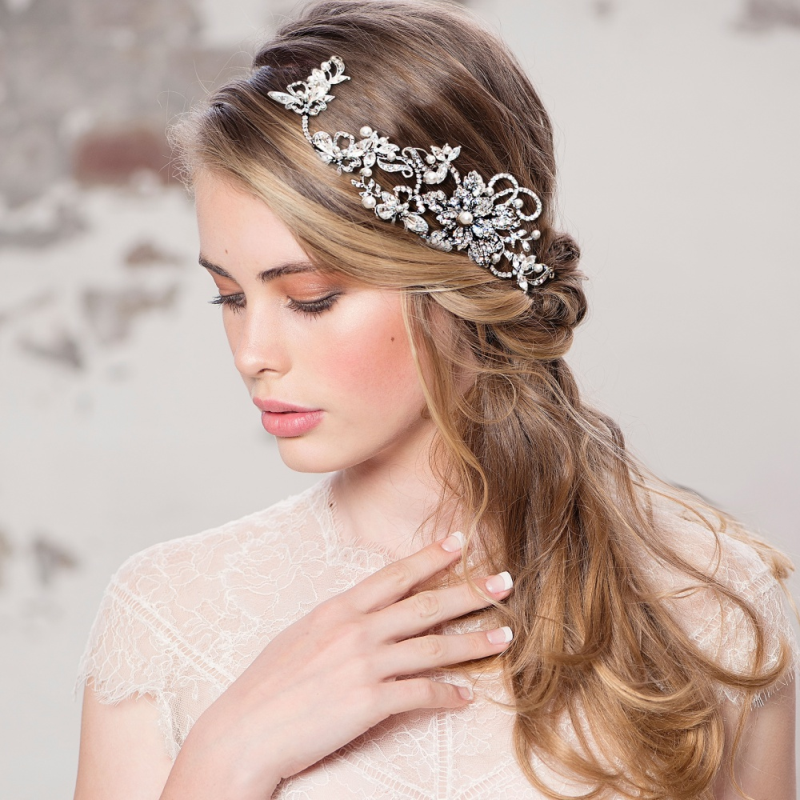 Evelyn silver crystal hairpiece