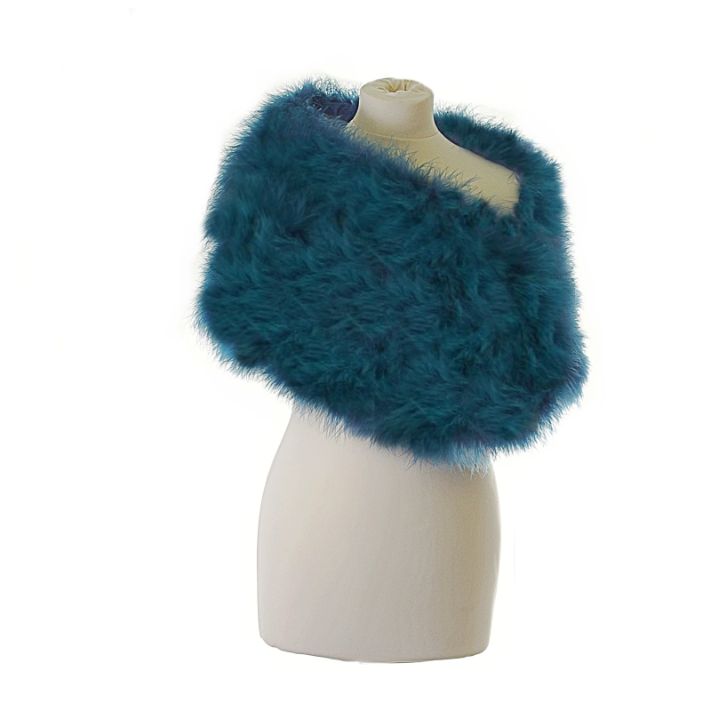 Teal marabou feather wrap