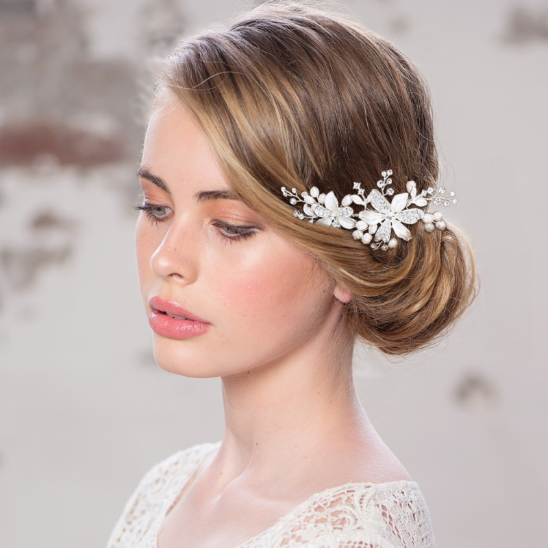 Tamir flower rose gold hair comb