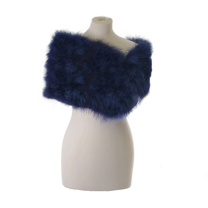 Navy marabou feather wrap