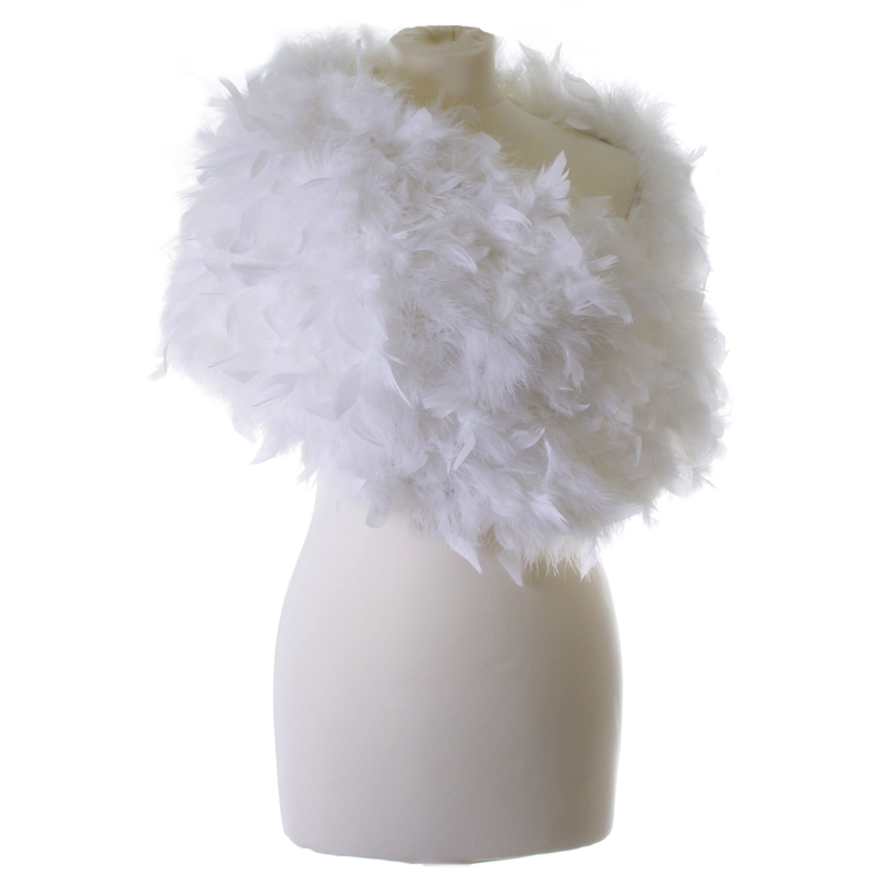 White ruffle feather wrap