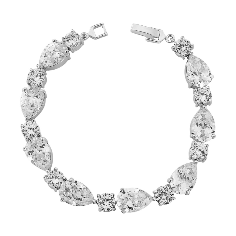 Anna crystal and silver bracelet