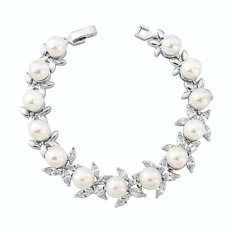 Nixie pearl and crystal bracelet