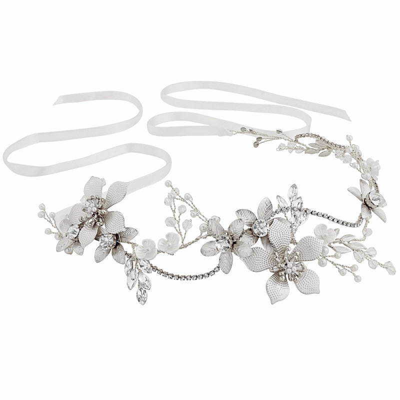 Beau crystal silver floral hairvine