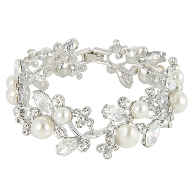 Joenie pearl and crystal statement bracelet