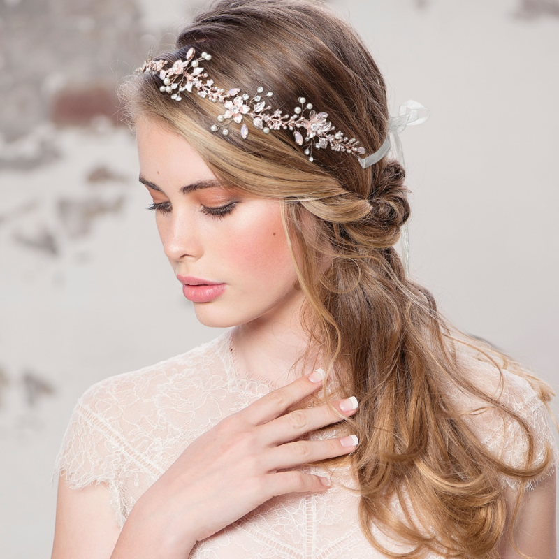 Vanessa blush pink crystal and silver hairvine