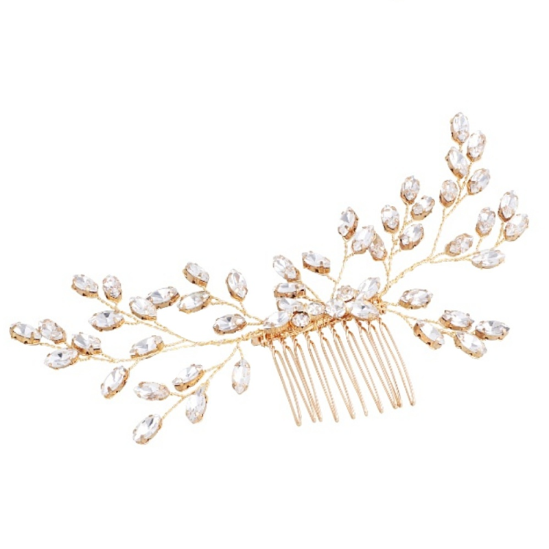 Nellie crystal gold hair comb