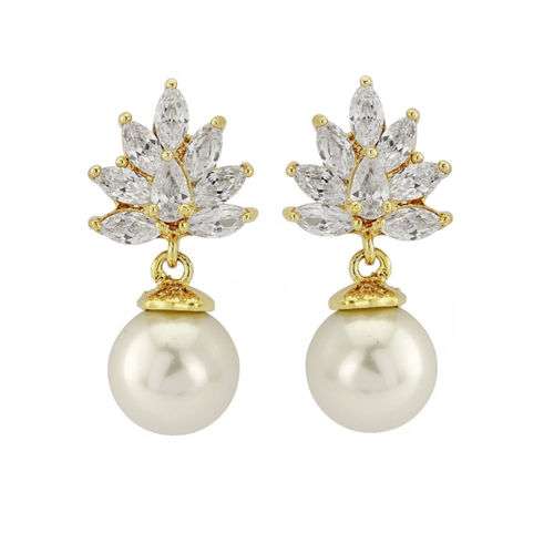 Zara crystal and pearl gold earrings