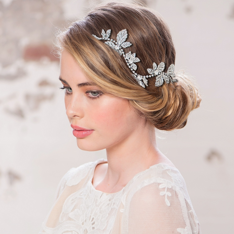 Claudia silver crystal hairpiece