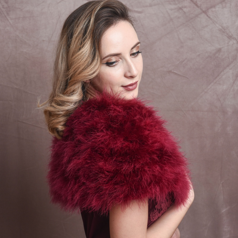 Wine marabou feather stole