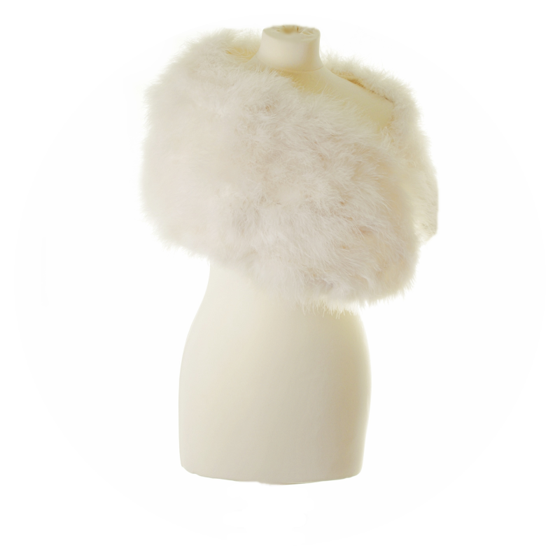 Ivory marabou feather wrap