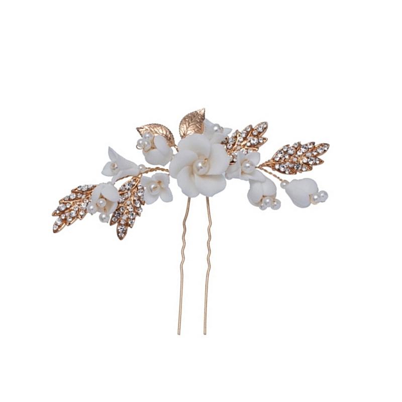 Halle pearl and silk flowers gold hair pin