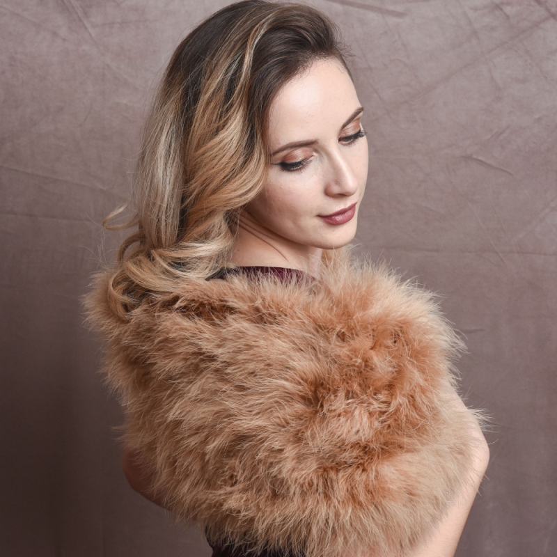 Caramel marabou feather stole