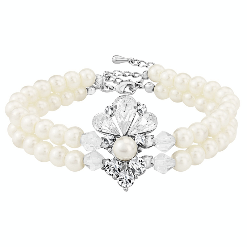 Clarissa silver and double row pearl bracelet