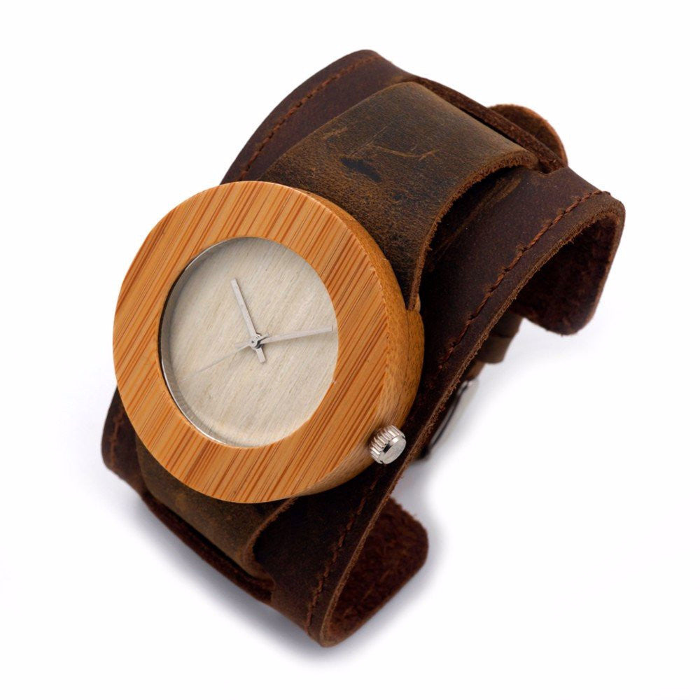 male in analog gifts men quartz soft birthday from watches watch leather saat nature creative female erkek wristwatch bamboo modern item