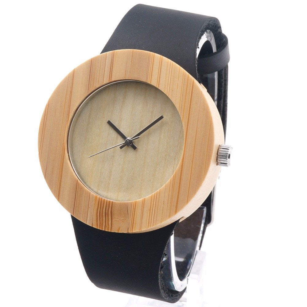 watch and we men watches detail leather wrist fashion cheap wholesale handmade product custom logo bamboo wood strap