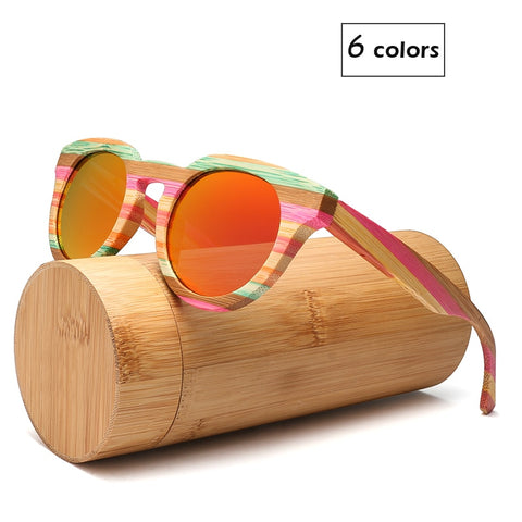 Round Wood Bamboo Sunglasses Polarized