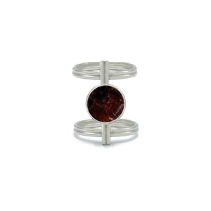 Circular Double-Wire Ring in Garnet