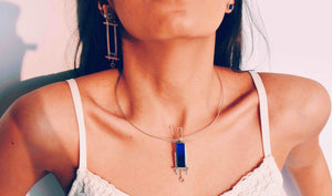 Rectangular Double Wire Necklace in Lapis Lazuli