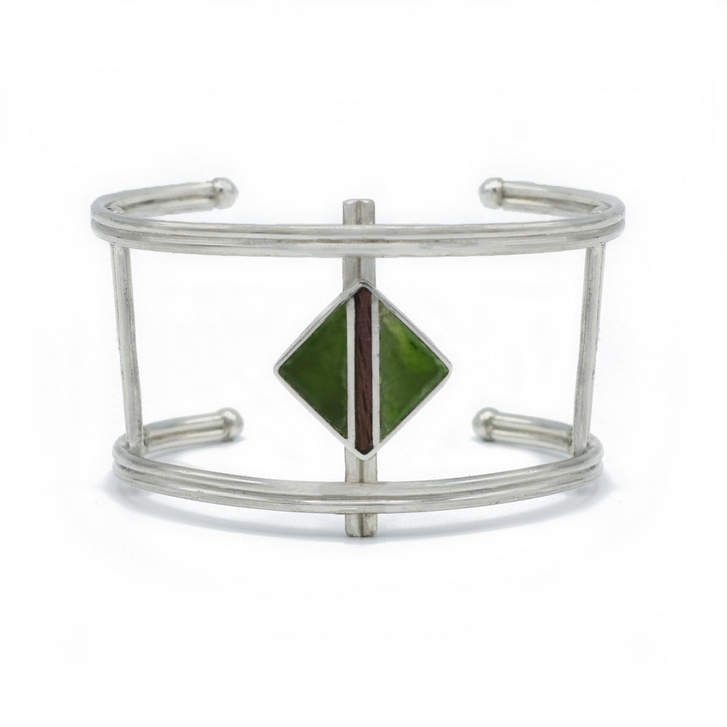 Diamond Double-Wire Cuff in Jade