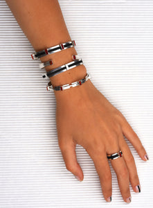 Women's Black Leather Cuff
