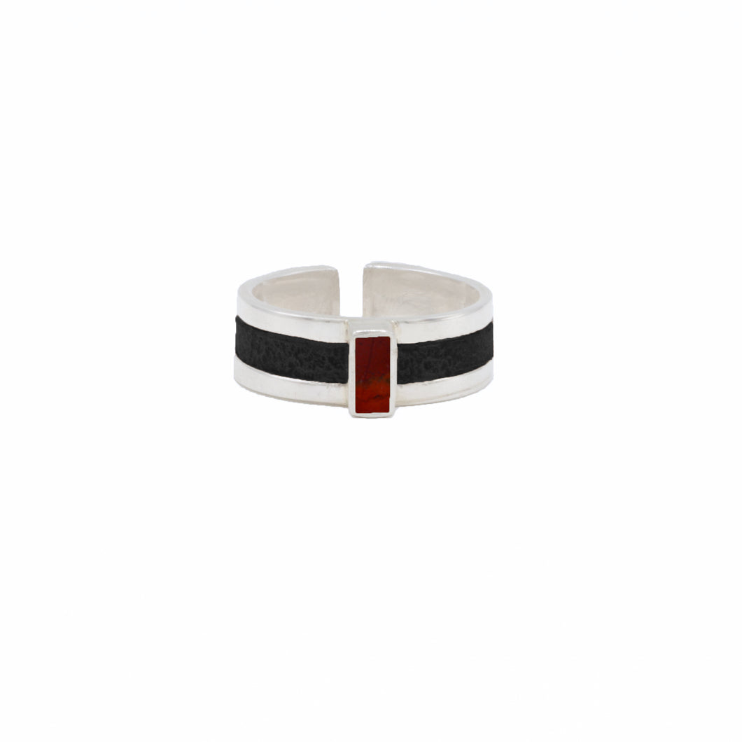 Uno Ring in Black Leather