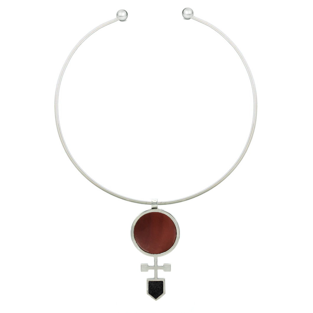 Geo Necklace in Red Jasper