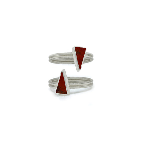 Stackable Triangular Rings in Red Jasper
