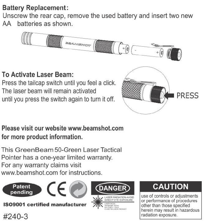 GreenBeam 50 Green Laser Pointer